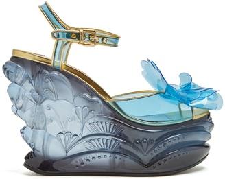 MIU MIU Vinyl-flower plexiglass wedge sandals $1,255 thestylecure.com