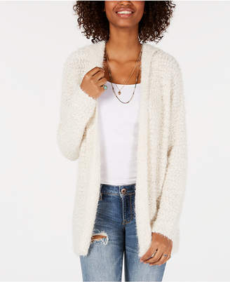 Say What Juniors' Open-Front Hoodie Cardigan Sweater