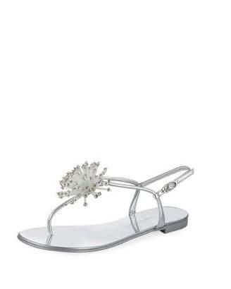 Giuseppe Zanotti Metallic Crystal Thong Sandal