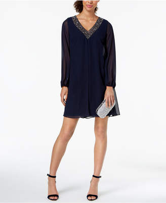 Betsy & Adam Beaded Chiffon Shift Dress