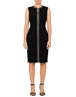 Versace Sleeve Less Midi Dress W/Crystal Detail