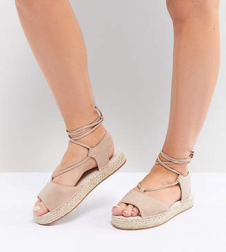 Asos Design JUMP ON Wide Fit Tie Leg Espadrille Sandals
