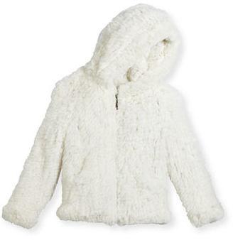 Adrienne Landau Hooded Zip-Front Rabbit Fur Jacket, Size 2-12 $395 thestylecure.com