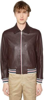 Thom Browne Zip-Up Buffalo Leather Bomber Jacket