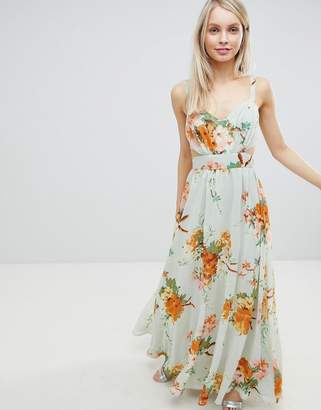 Asos Design DESIGN Maxi Dress With Side Cut Out In Green Floral Print