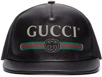 Gucci black faux Leather Trucker Cap