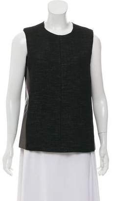 Calvin Klein Collection Leather-Trimmed Wool Sleeveless Top