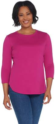Isaac Mizrahi Live! Essentials 3/4 Sleeve Curved Hem Knit Top