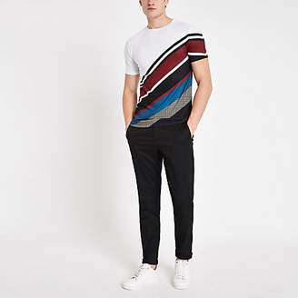 River Island White diagonal stripe slim fit T-shirt