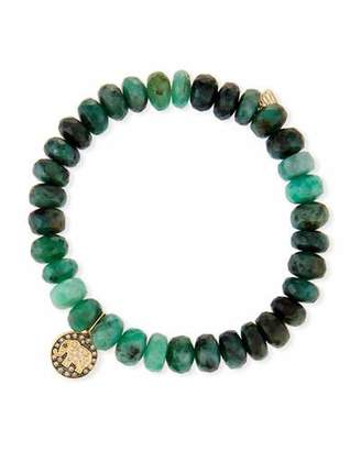 Sydney Evan 8mm Emerald Bead & 14k Elephant Bracelet