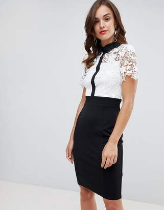 Paper Dolls 2 in 1 crochet lace top pencil dress with contrast COLLAR detail in monochrome