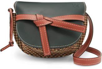Loewe Gate Small Leather And Tweed Shoulder Bag - Emerald