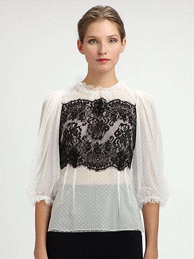 Dolce & Gabbana Lace-Trimmed Swiss Dot Blouse