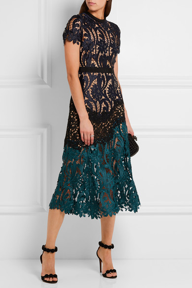 Self-Portrait - Prairie Guipure Lace Midi Dress - Midnight blue 3
