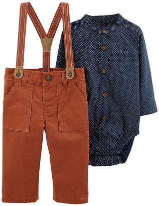 Carter's 2pc Poplin Shirt & Suspender Pant Set - Baby Boy