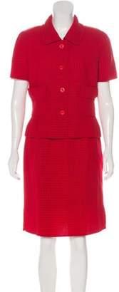 Oscar de la Renta Wool-Blend Skirt Suit Red Wool-Blend Skirt Suit
