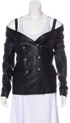 Faith Connexion Leather Off-The-Shoulder Jacket