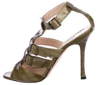 Manolo Blahnik Eel Buckle Sandals