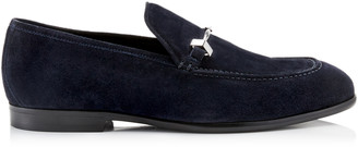 Jimmy Choo MARTI Navy Velvet Suede Loafers