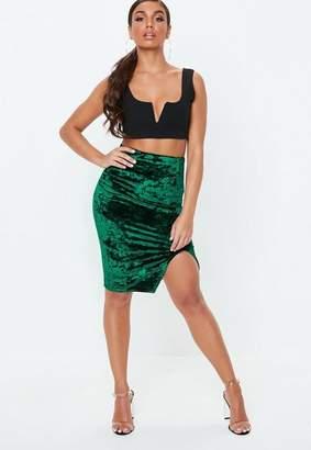Missguided Green Velvet Split Front Midi Skirt