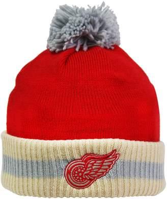 Reebok CCM Stripe Cuffed Pom Knit Toque - Detroit Wings