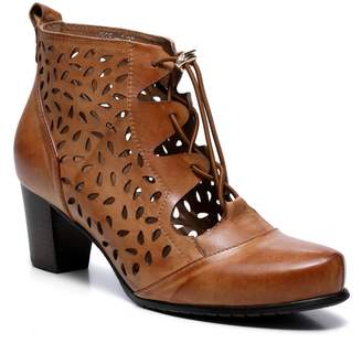 Shae Vicenzo Leather Perforated Flat Wooden Heel Ankle Leather Boots