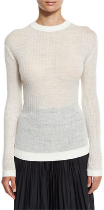DKNY Long-Sleeve Sheer Ribbed Pullover Sweater $148 thestylecure.com