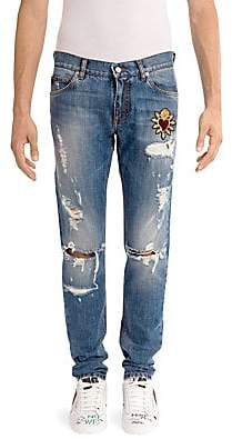 Dolce & Gabbana Men's Distressed Heart Jeans