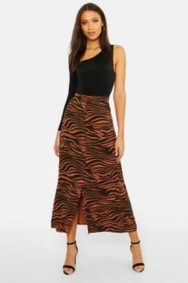 boohoo Tall Button Front Zebra Midi Skirt