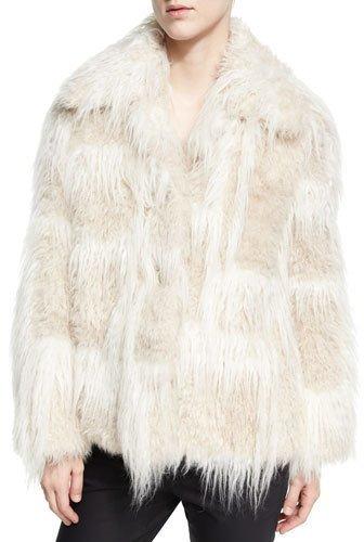 Helmut LangHelmut Lang Two-Tone Faux-Fur Jacket, Cream