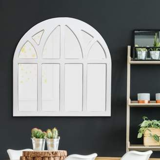 "Distressed White Farmhouse Cathedral Windowpane Wall Mirror 20""x20"" by Patton Wall Decor"
