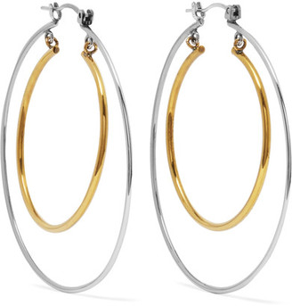 Alexander McQueen - Gold And Silver-tone Hoop Earrings $345 thestylecure.com