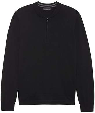 Banana Republic Cotton Cashmere Half-Zip Bomber Sweater