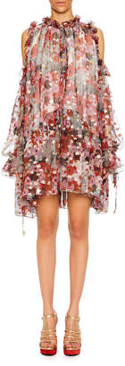Alexander McQueen Cold-Shoulder Feather-Print Silk Fil Coupe Peasant Dress