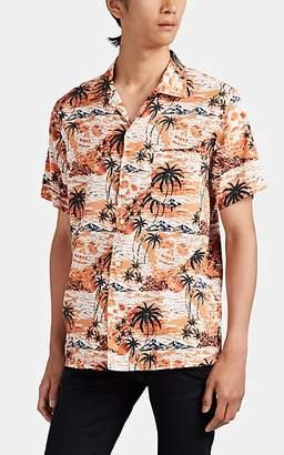 John Varvatos Men's Skull-Hawaiian-Print Cotton-Blend Shirt - Orange