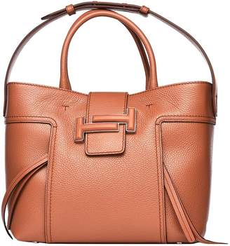 Tod's Double T Shopping Bag In Brown Leather