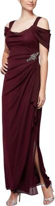 Alex Evenings Embellished Cold Shoulder Gown
