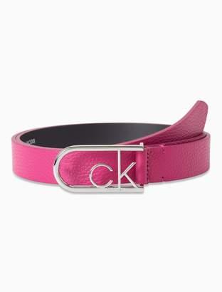 Calvin Klein Leather Monogram Round Buckle Belt
