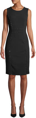 Neiman Marcus Rhinestone-Seam Sheath Dress