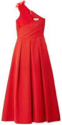 Preen by Thornton Bregazzi One-shoulder Tulle-trimmed Stretch-cady Midi Dress - Red
