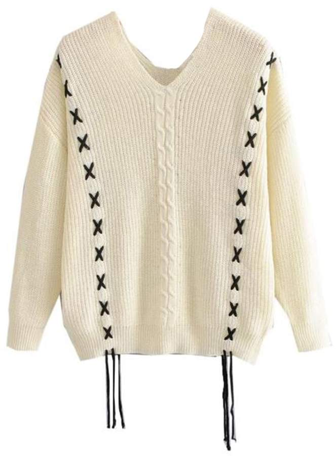 Goodnight Macaroon 'Heidi' Knitted Laced V-Neck Sweater