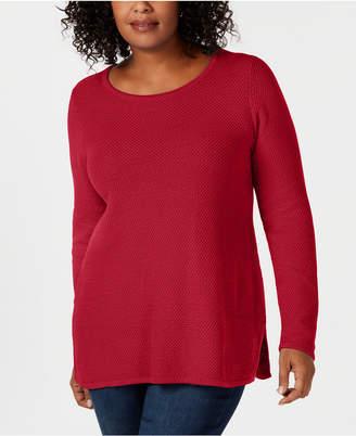 Charter Club Plus Size Seed-Stitched Tunic Sweater