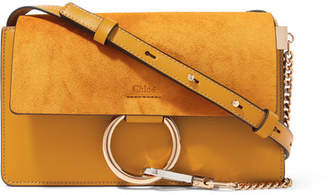 Chloé Faye Small Leather And Suede Shoulder Bag - Mustard