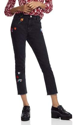Maje Multicolor Patch Frayed Cropped Jeans