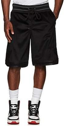 Cardoni Men's Star-Detailed Velour Basketball Shorts - Black Size S