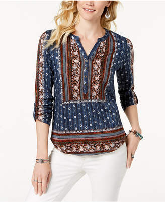 Style&Co. Style & Co Printed Button-Neck Top, Created for Macy's