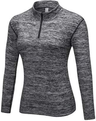 Forart Women's Long Sleeve Workout Yoga 1/23 Zipper Tee Running Gym Sports T-Shirt Fast Dry