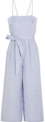 J.Crew - Marseille Pinstriped Linen Jumpsuit - Blue $130 thestylecure.com