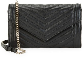 Saks Fifth Avenue Quilted Leather Crossbody Envelope Clutch