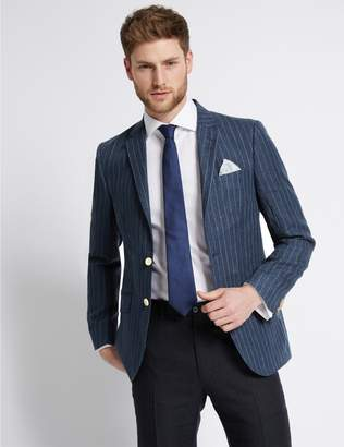 Marks and Spencer Big & Tall Pure Linen Striped Jacket